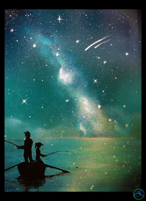 Spray Paint Art Ideas Part - 41: Father Daughter - Painting - Son - Fishing At The Lake - Painting - Stars -