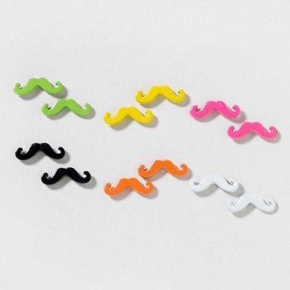 Girls Mustache Colorful Ear Studs 925 Sterling Silver Plastic