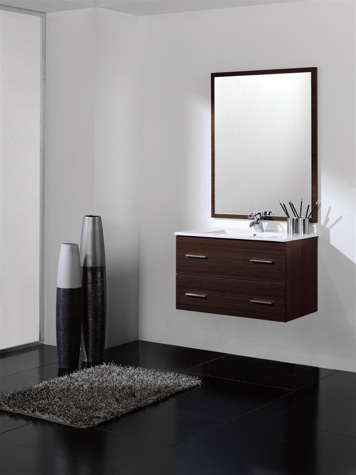 OFERTA: Mueble de baño wengue 2 cajones Suspendido. Incluye lavabo ...