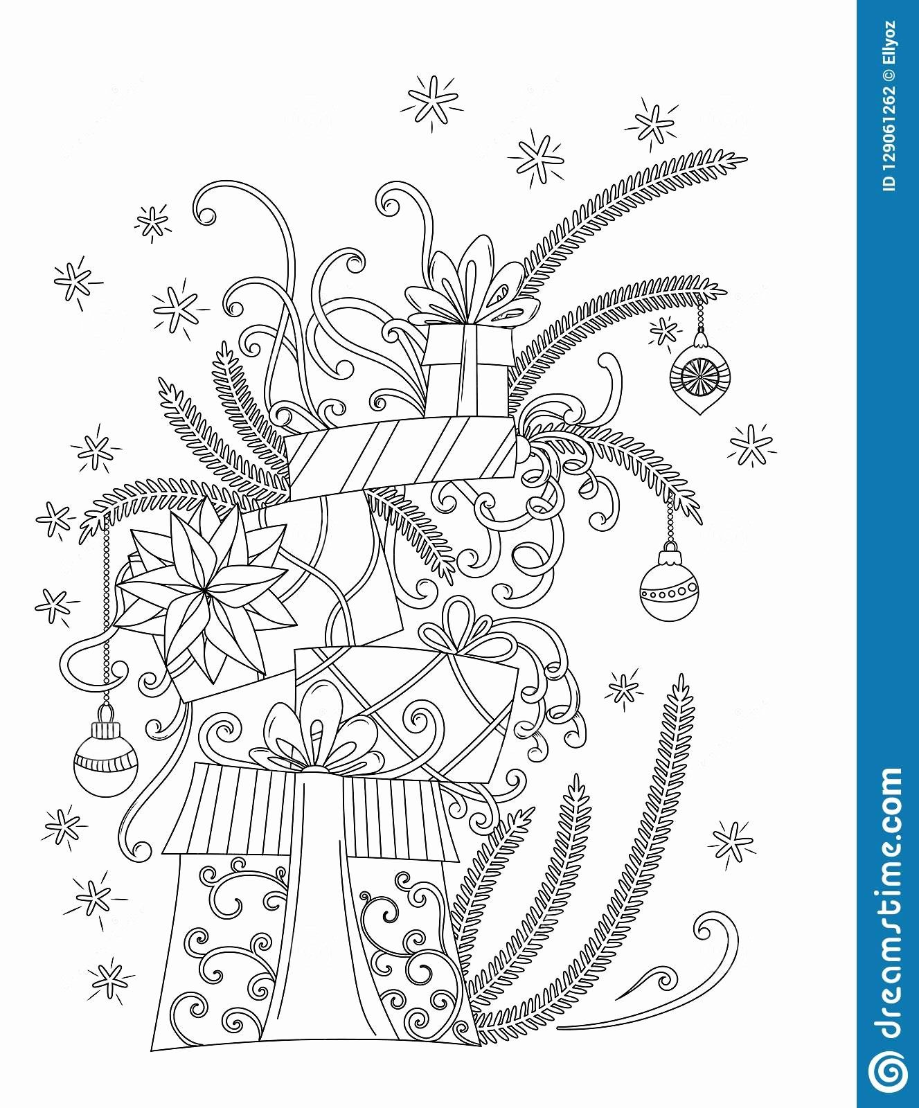 Birthday Present Coloring Page New Merry Christmas Coloring Page Set Of Elements New Ye Holiday Coloring Book Christmas Coloring Pages Christmas Coloring Books