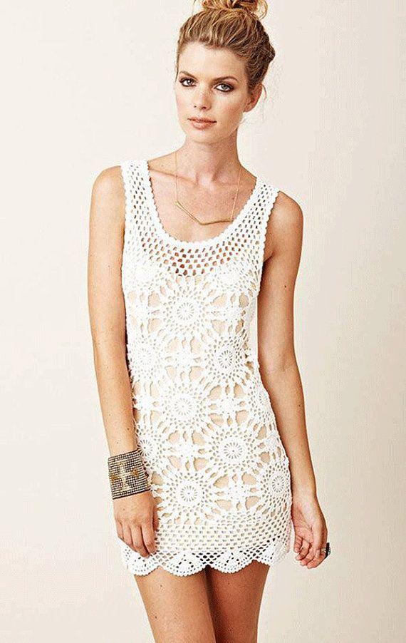 Beige Crochet Dress Beach Crochet Wedding Dress Unique Lace Etsy Beige Crochet Dress White Crochet Dress Crochet Dress