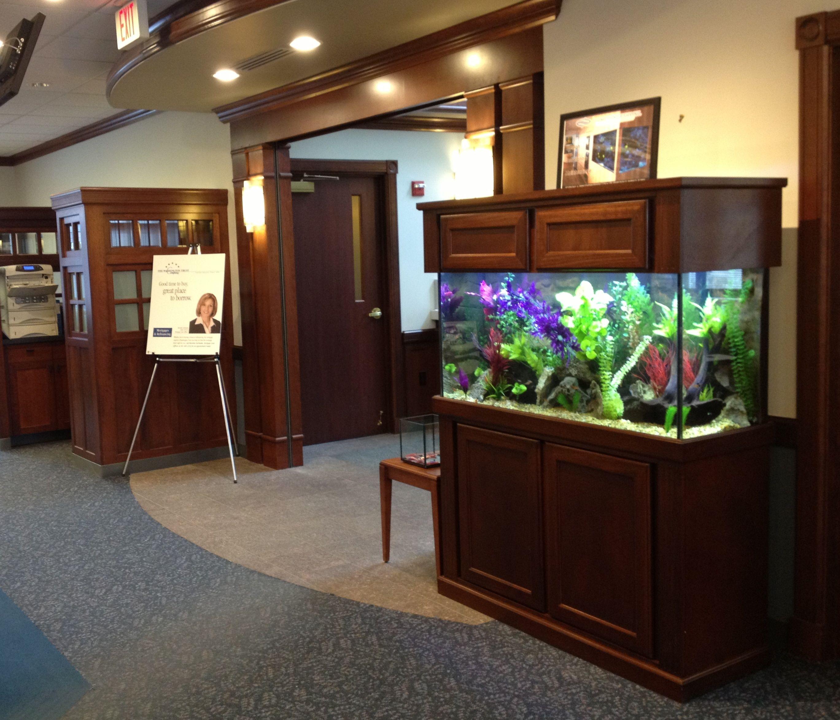 The Cambridge Model in Red Oak  90 gallon Freshwater Tropical Aquarium