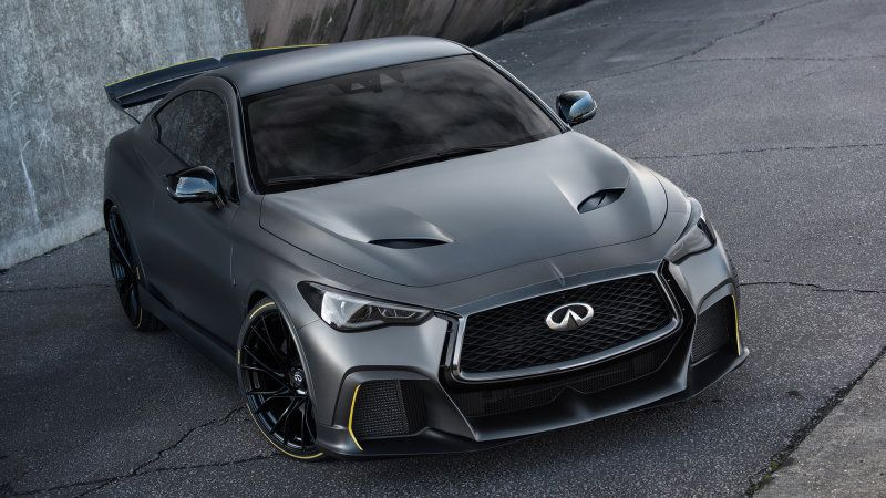 Infiniti Q60 Project Black S To Pairs F1 Tech To A Twin Turbo V6 Hybrid Car Small Luxury Cars Super Cars