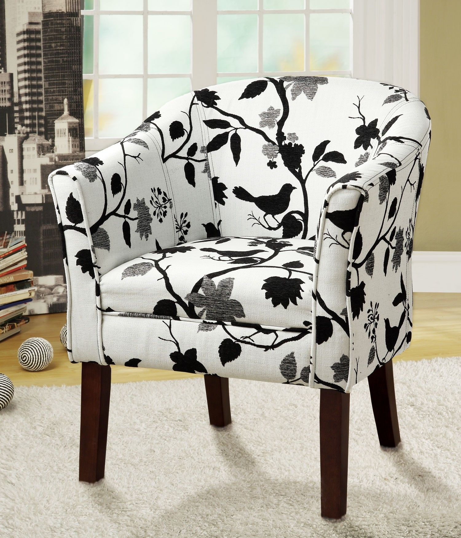 Coaster Black And White Bird Pattern Accent Chair Reviews