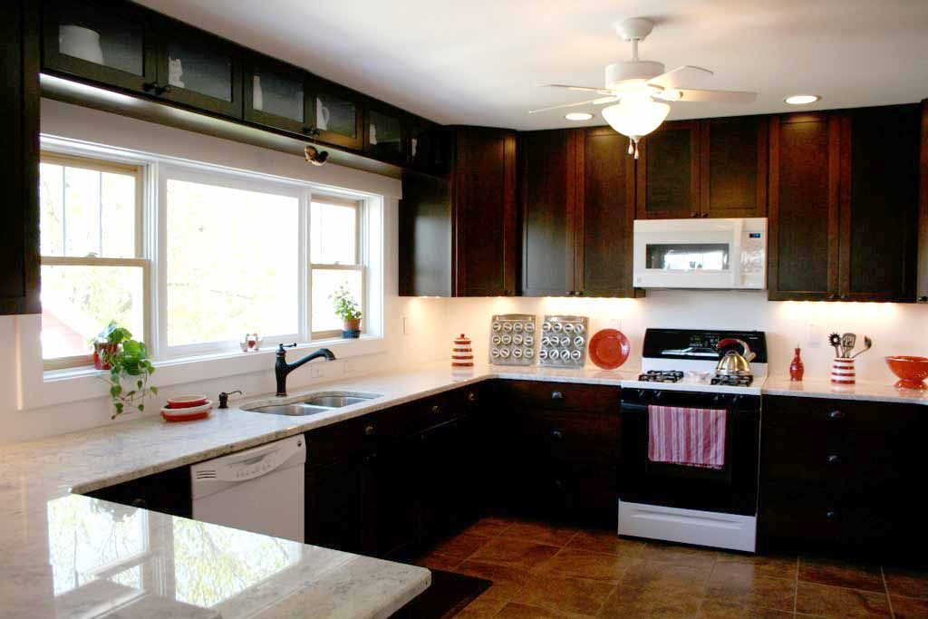 Black cabinets white appliances home design for 5 star kitchen cabinets