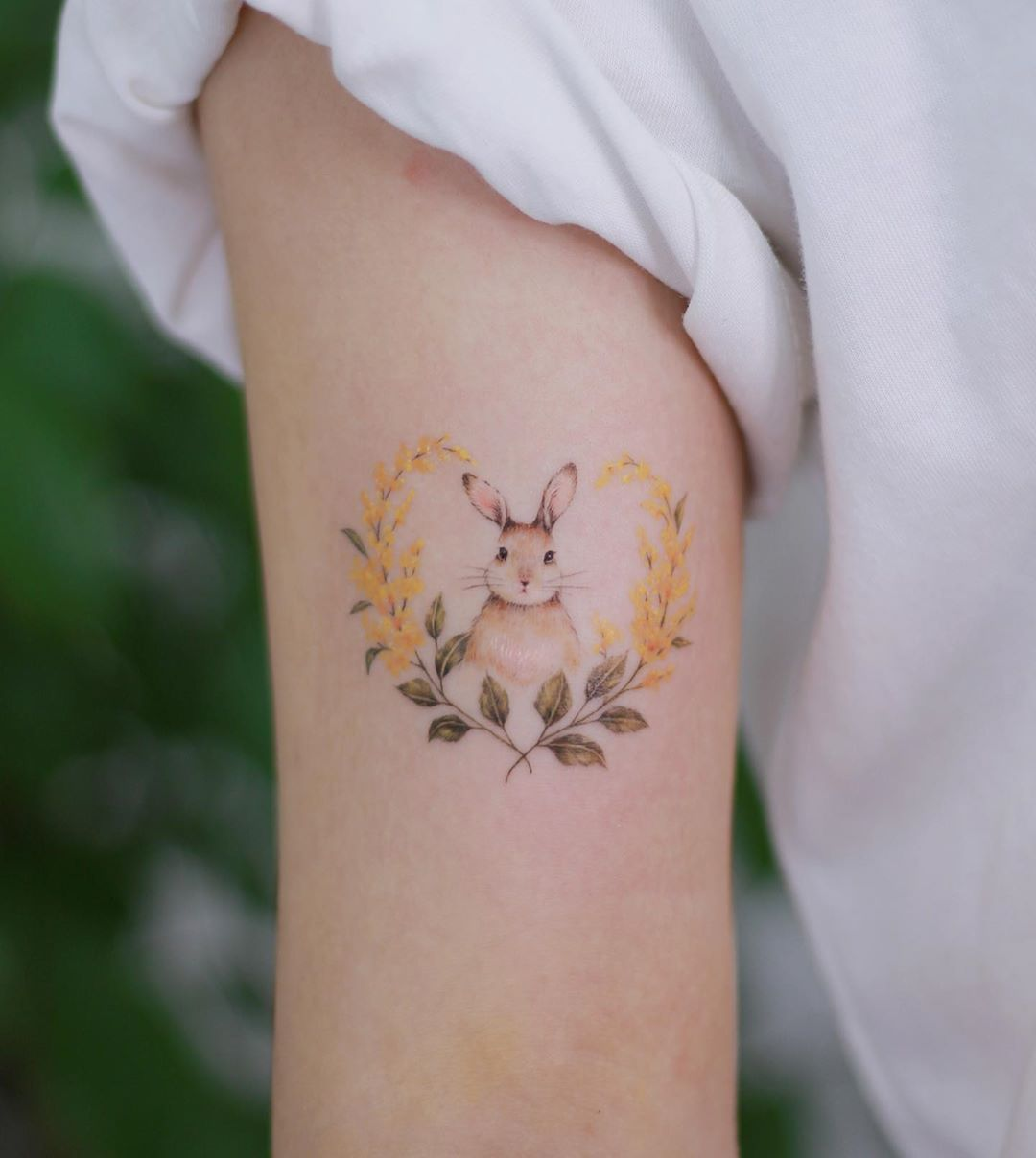 Bunny And Flowers Bunny Means Her And Golden Rod Means Her