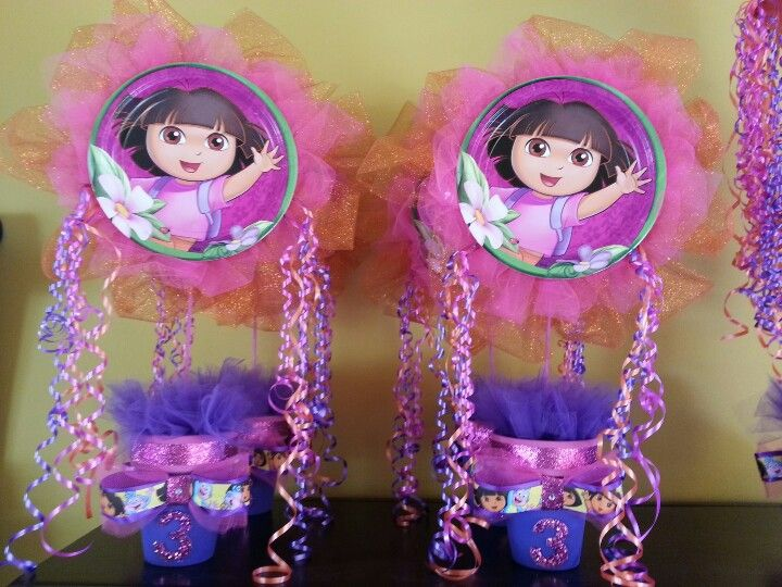 Dora centerpiece Giannas Third Birthday Pinterest
