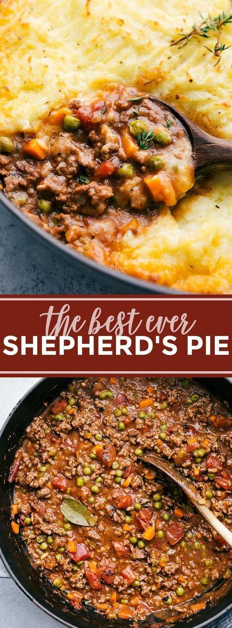 The ultimate BEST EVER Shepherd's Pie! A delicious and simple dinner! via chelseasmessyapron.com (try with Yukon gold and russet potatoes like she says; don't use grape juice because it is too sweet try 1/4 cup wine and 1/4 cup chicken broth to lighten it and could up to 1/2 cup wine if not too strong, don't use cast iron skillet because it will overflow, don't go over on liquids, add enough flour to take away the shine on the meat, cw) #simplehealthydinner