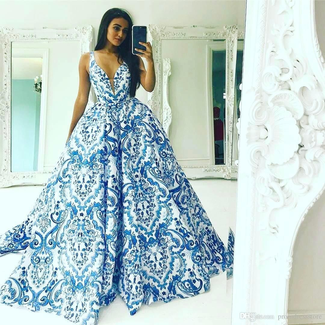 Gorgeous inspired printed prom homecoming dress long for seniors