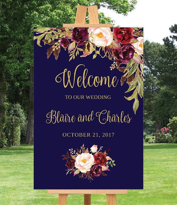 Personalised Welcome to our Wedding Sign Navy Blue /& Gold Effect