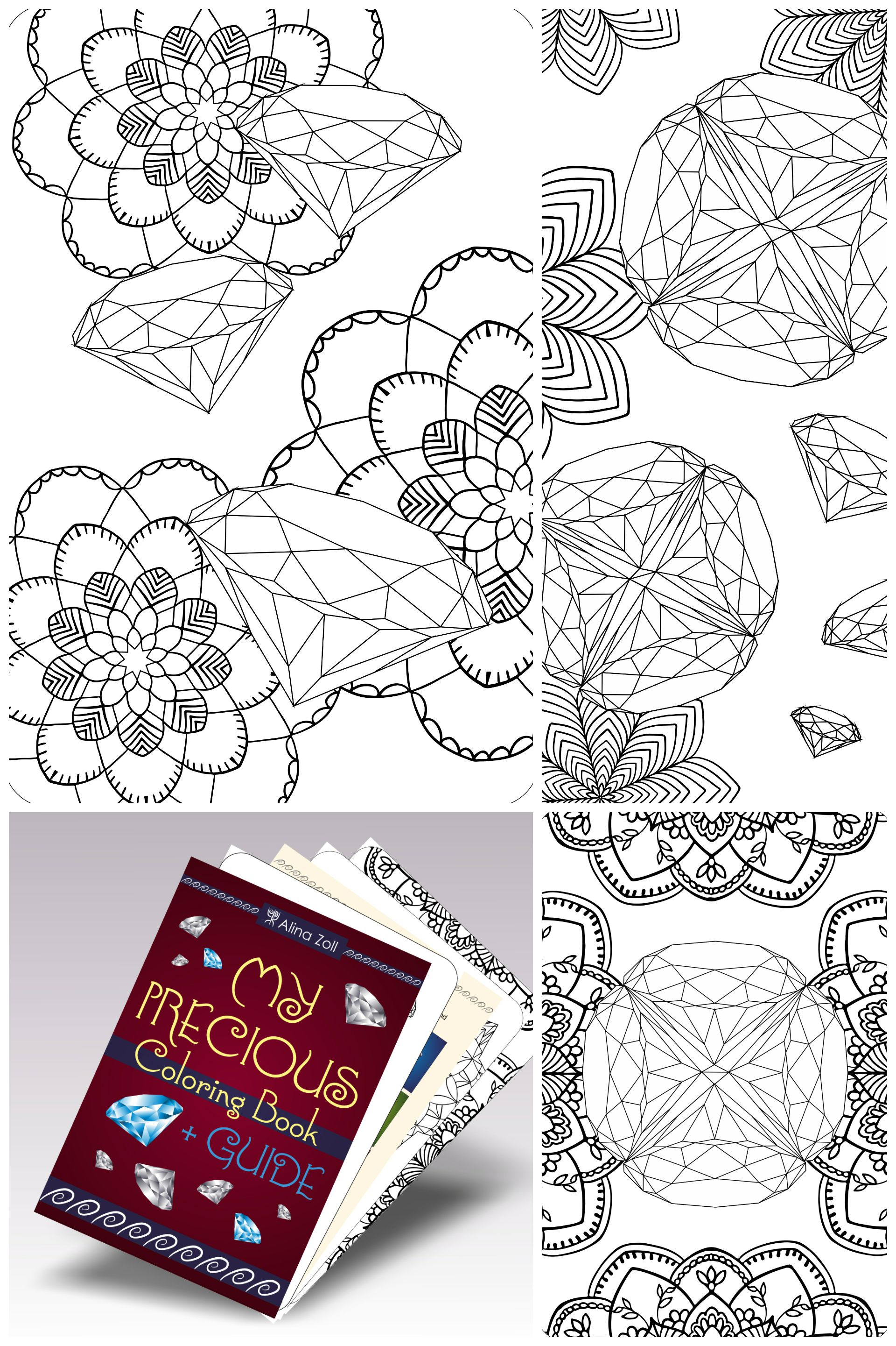 Digital Adult Coloring Book Gemstone Drawing Tutorial Pages With Diamond PDF Livre De Coloriage