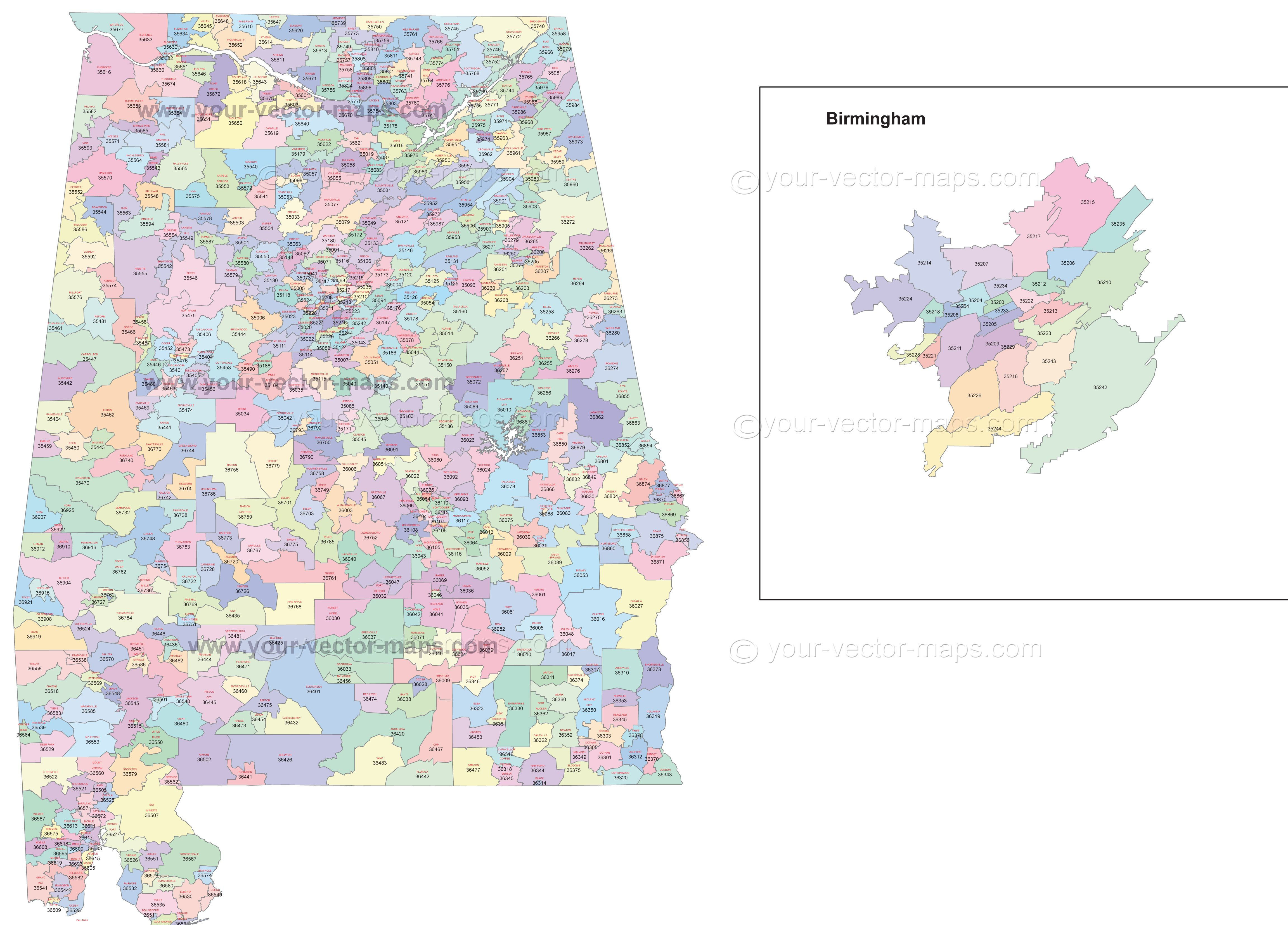 Alabama State Zip Code Map With Location Name Original Postal - Us zip code to state