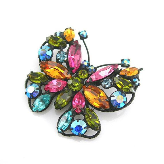 Regency Rhinestone Butterfly Brooch Colored Stones Japanned Setting Circa 1960-70s Vintage Bookpiece shown in Collecting Costume Jewelry 101