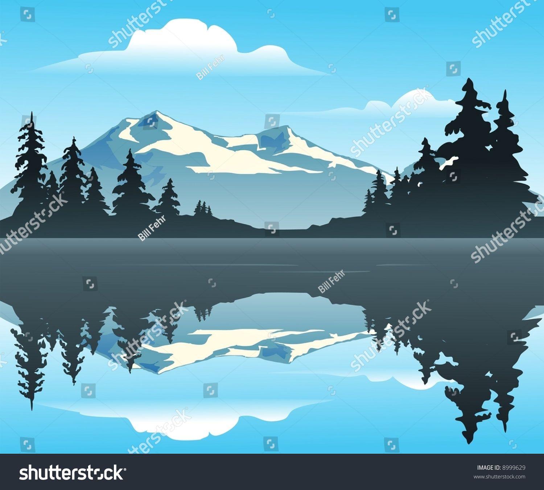 Lake Mountain Silhouette Clip Art Mountain Lake Outdoor Scene Overlooking Calm Stock Vector 8999629 Shut Lake Painting Fantasy Art Landscapes Mountain Lake