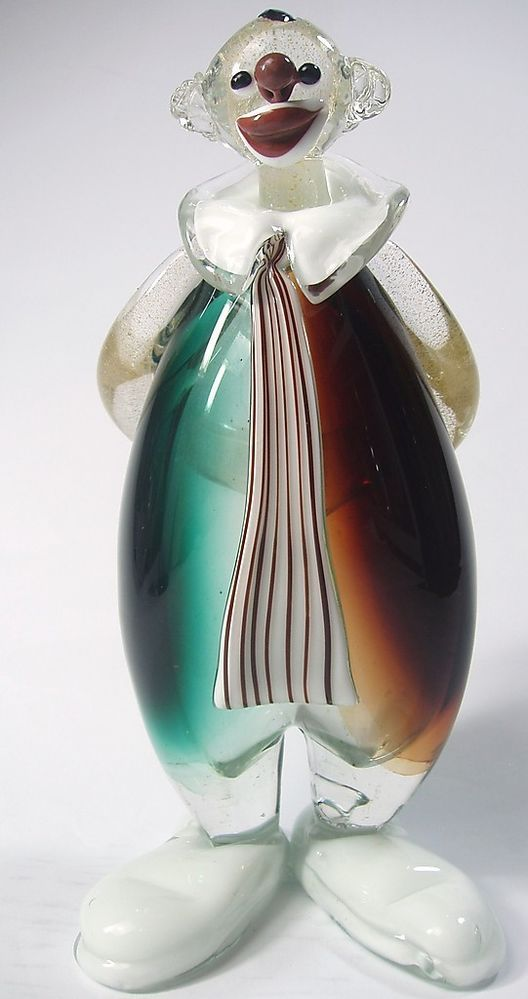 Alfredo Barbini Early Vintage Murano Art Glass Clown-Gold Flake Aventurine