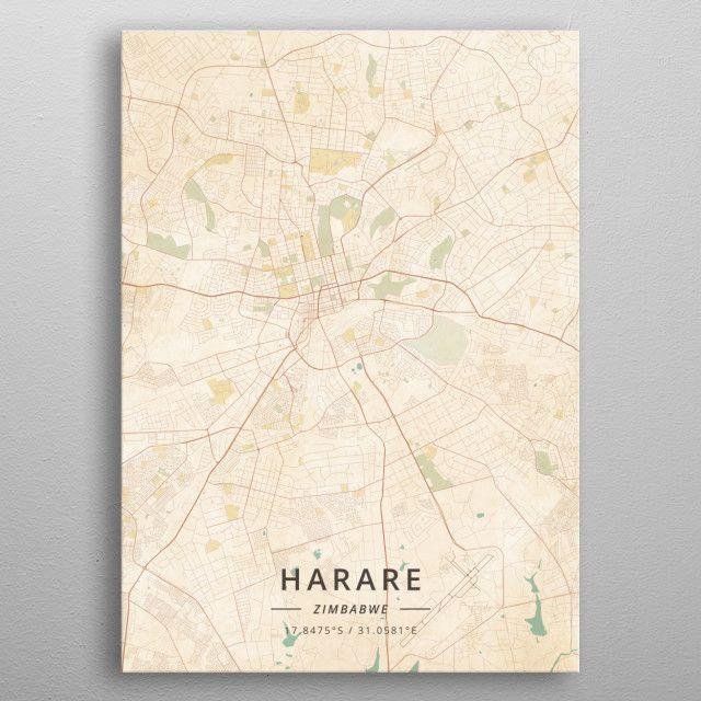 Harare Zimbabwe by DesignerMap Art | metal posters - Displate | Displate thumbnail