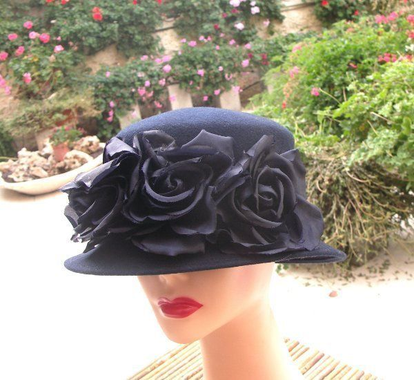 Vintage jennifer circelli navy wool hat with large silk flowers vintage jennifer circelli navy wool hat with large silk flowers silk flowers and silk mightylinksfo