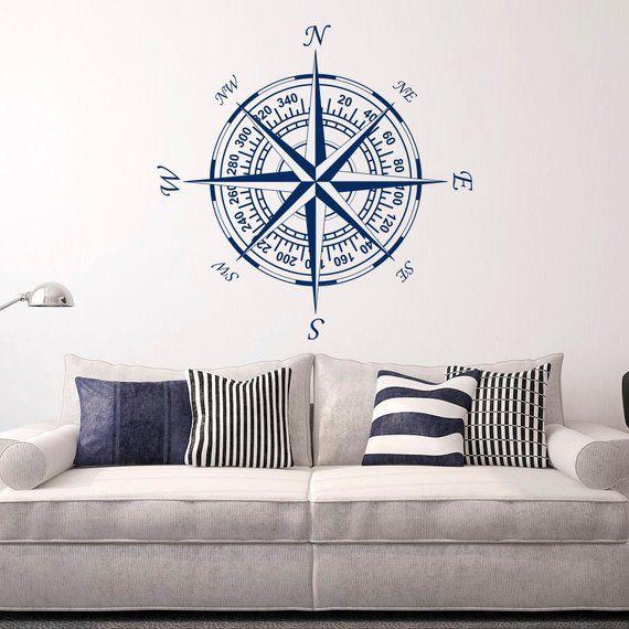 Photo of Compass Wall Decal Vinyl Decal Nautical Decor – Nautical Compass Rose Wall Decal for Living Room Bedroom Nursery Wall Art Home Decor C121