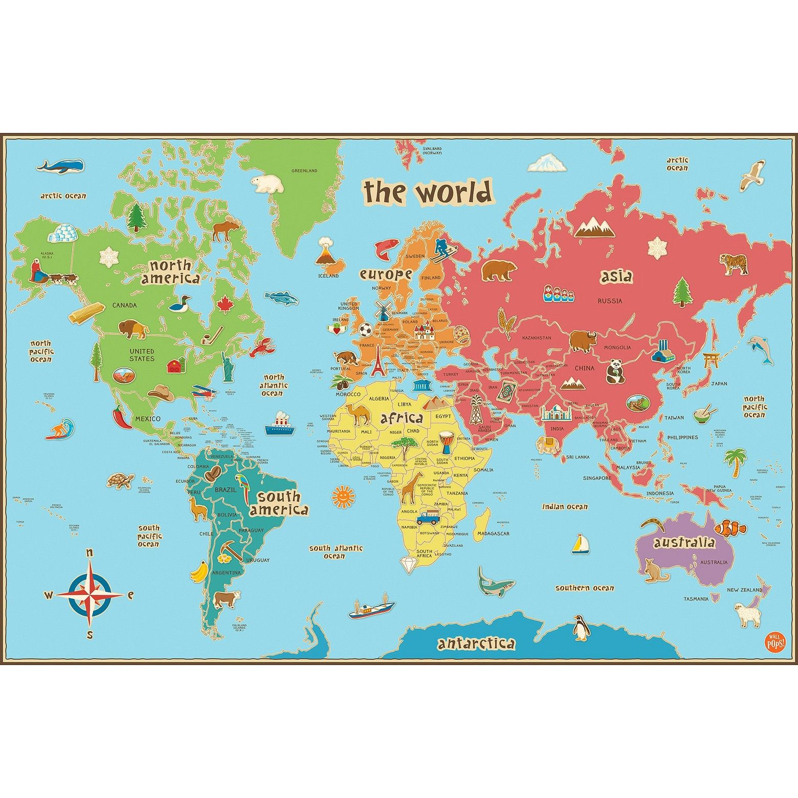 Wallpops kids world map multicolor classroom decor and playrooms this world map is especially suited to kids with fun graphics easy to read tags and bright colors our peel and stick kids world map decal is also gumiabroncs Images