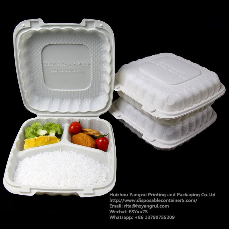 Biodegradable Food Container Hamburger Hinged Lid Food Container