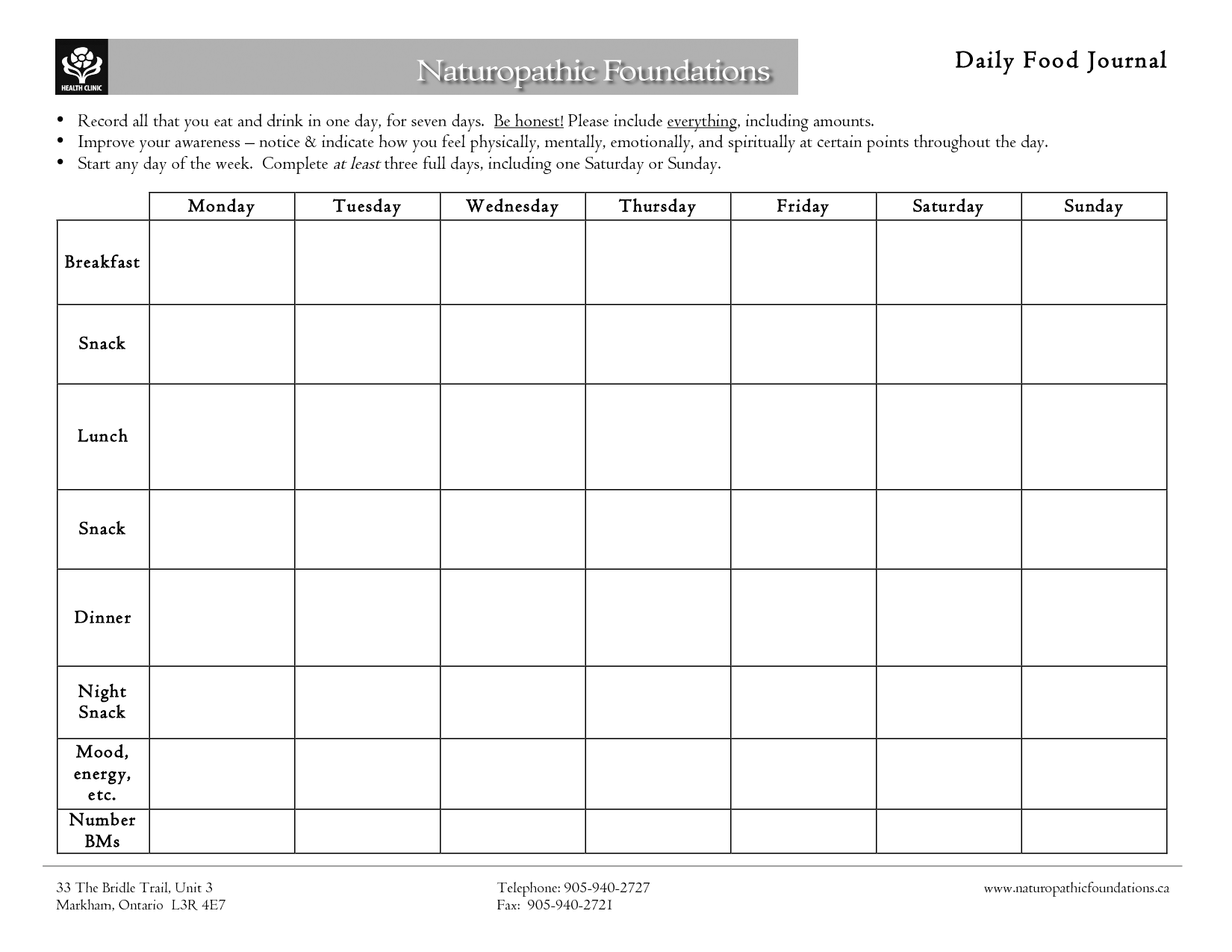 Printable Daily Food Log Template