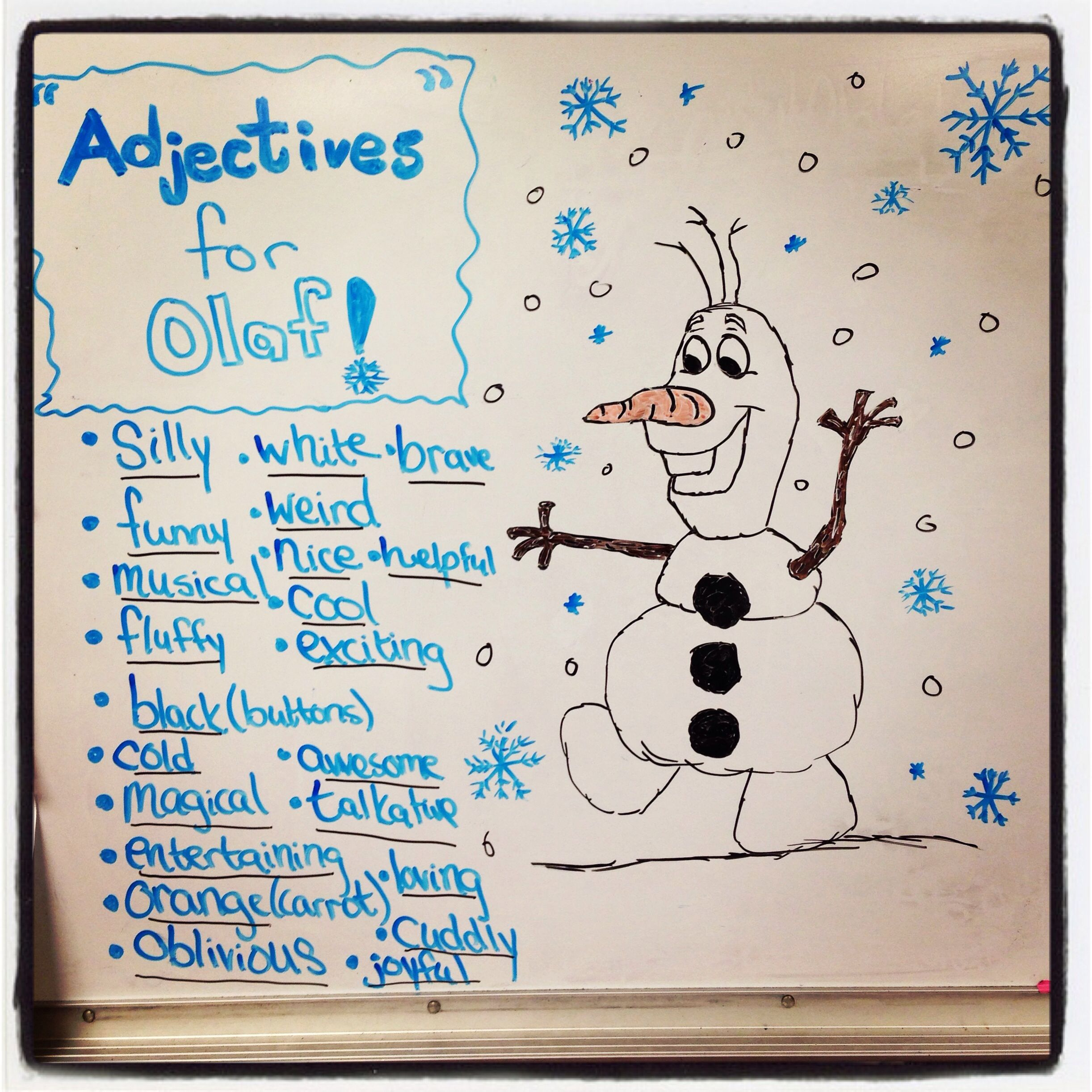 Adjectives For Olaf Learning Adjectives On The