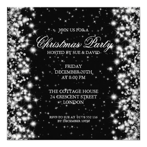Elegant Party Sparkle Black Card Christmas Wedding Winter - Party invitation template: elegant christmas party invitation template