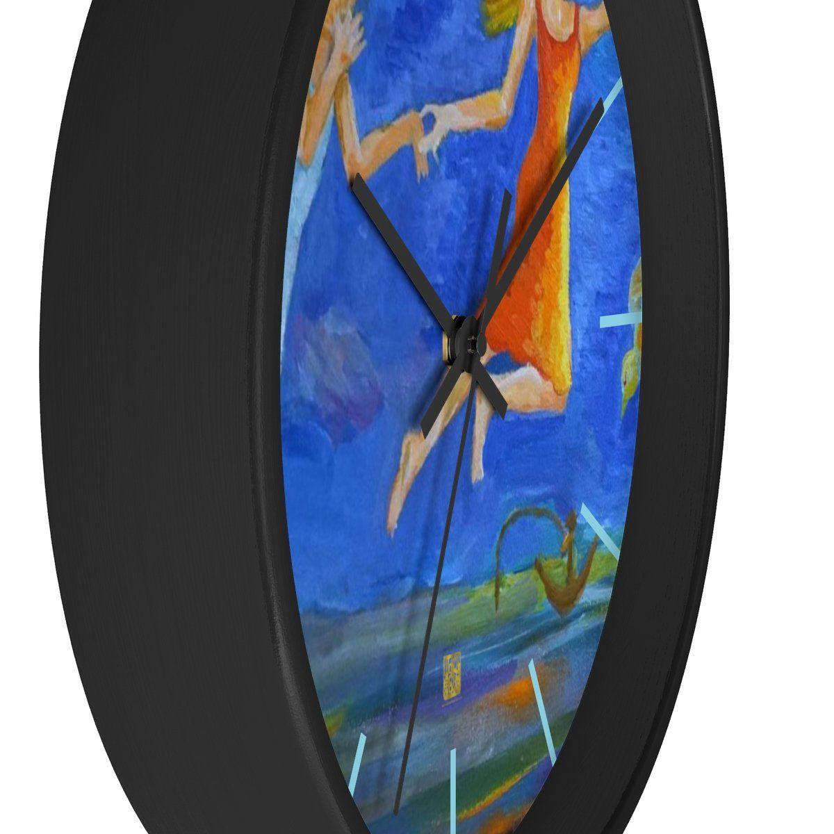 Angels From Heaven Designer 10 Inch Large Blue Modern Wall Clock Made In Usa Wall Clock Wall Clock Modern Clock