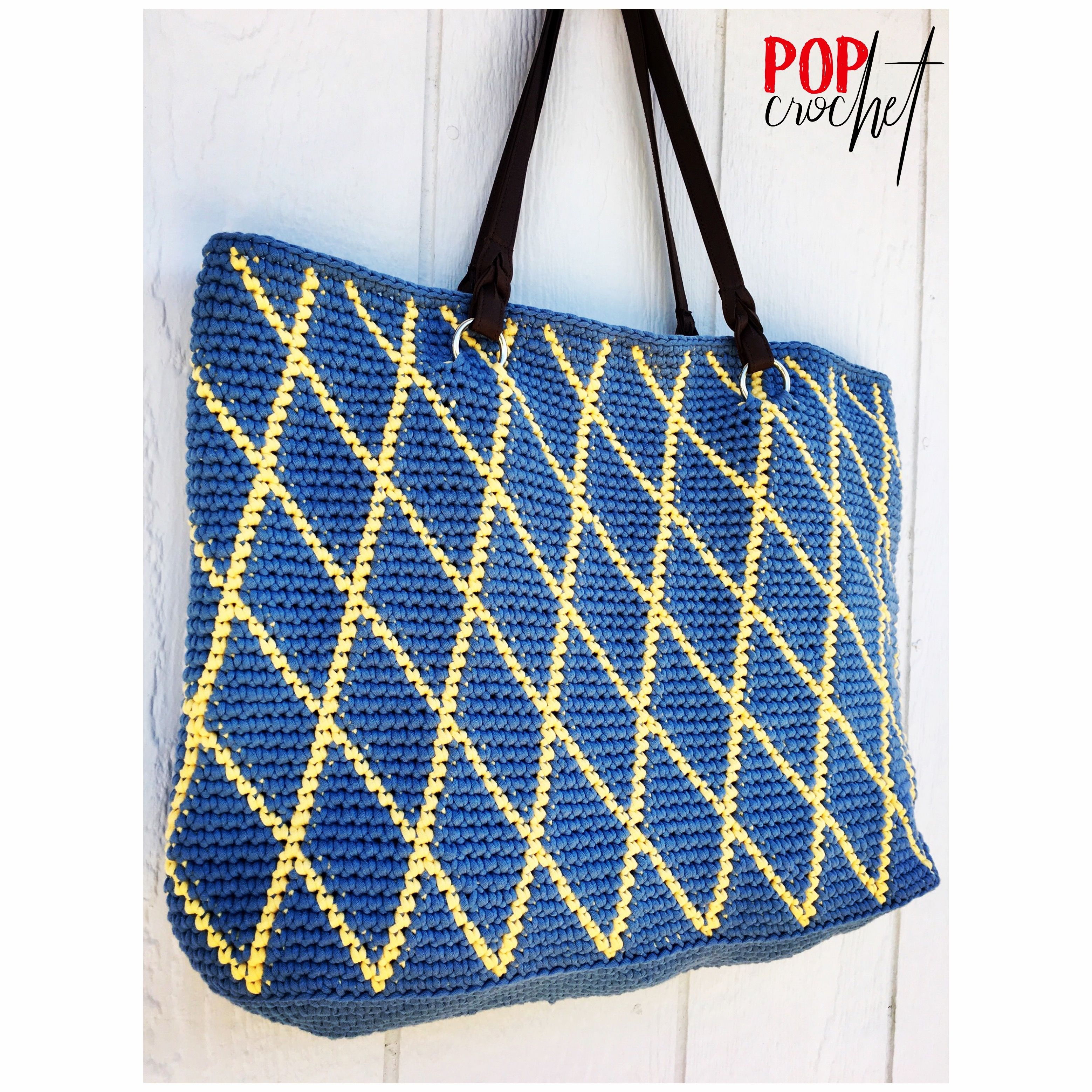 Crisscross Pattern Diana Crochet Tote Bag