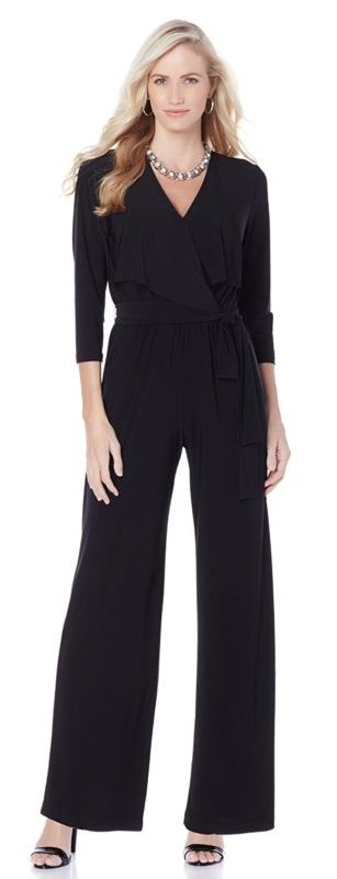 Look fierce & fabulous rocking this stylish 3/4-sleeve jumpsuit by Tiana B! Repin if you love this classic one-and-done look.