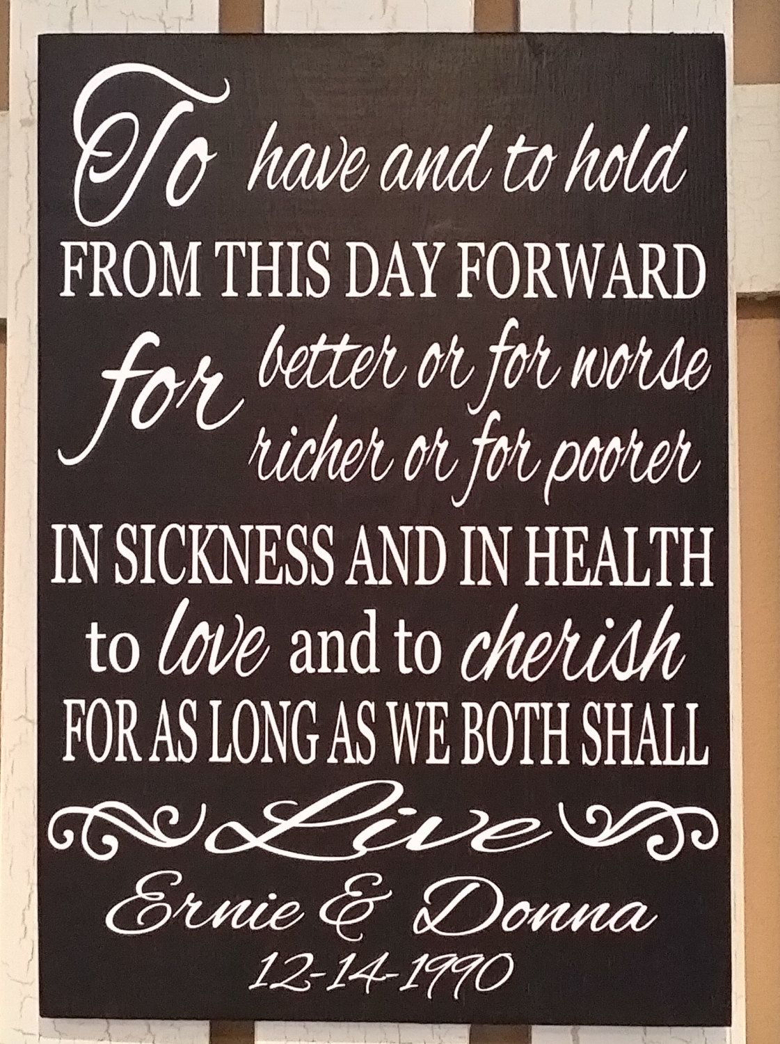 Personalized Wedding Gift, Personalized Wedding Vows Sign