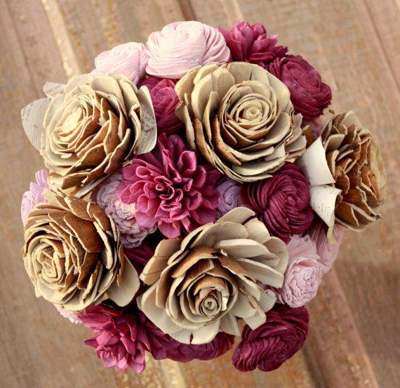 Eggplant wedding bouquet Sola wooden flower bouquet deep | wedding ...