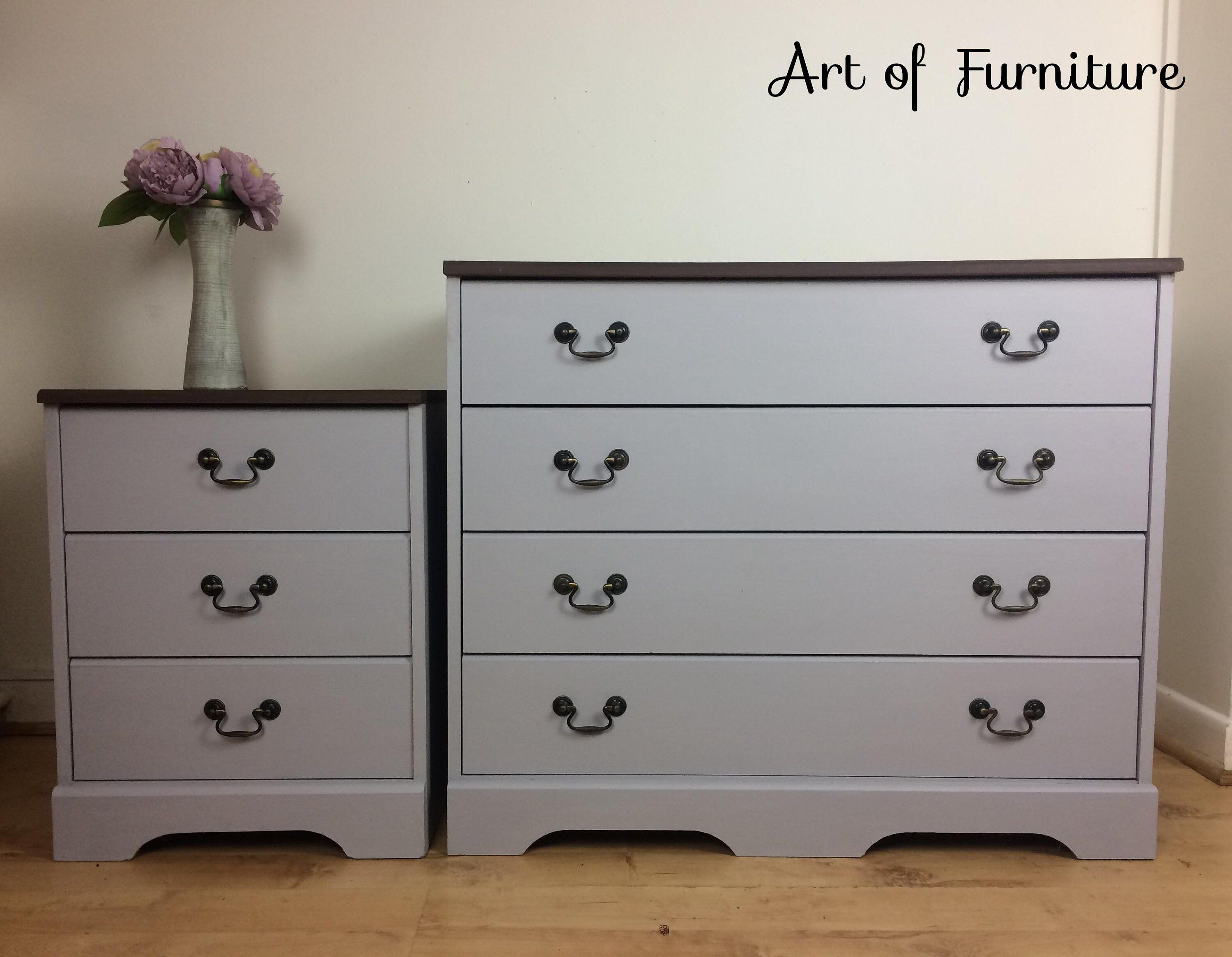 Solid Farmhouse Chest Of Drawers Matching Bedside Table Hand Painted In Light Grey Chalk Paint Upcycled Upcycled Furniture Furniture Hand Painted Furniture