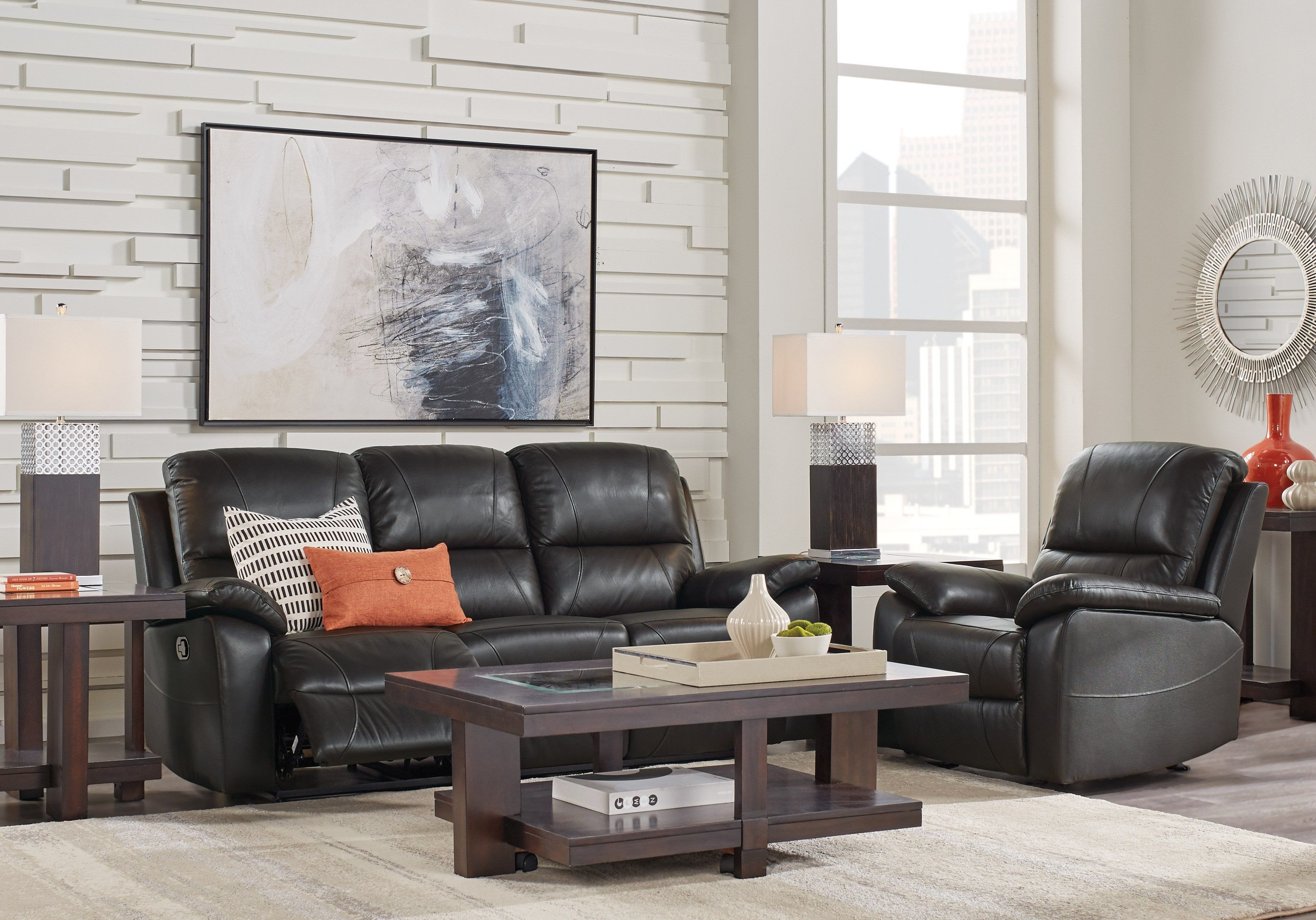 Jericho Place Black Leather 2 Pc Reclining Living Room Living