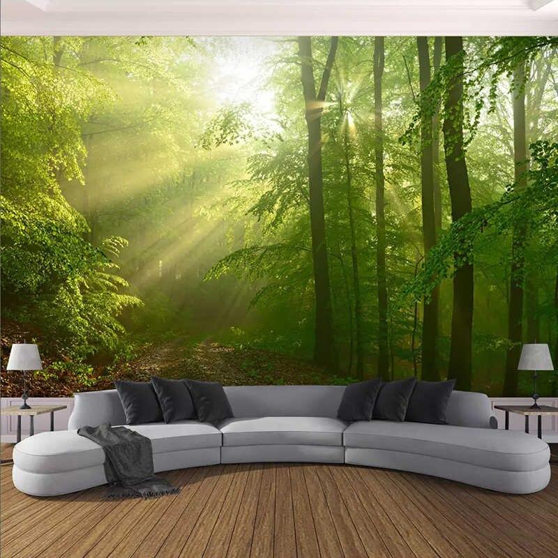 3d Wallpaper Modern Green Forest Sunshine Landscape Photo Wall