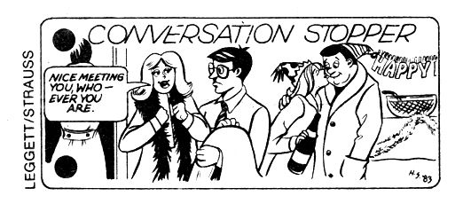 """Conversation Stoppers"" from The Village Voice, 1983"