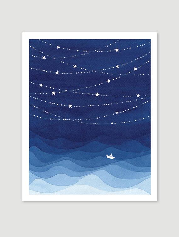 Etoiles Illustration A L Aquarelle Art De L Ocean L Ocean De La