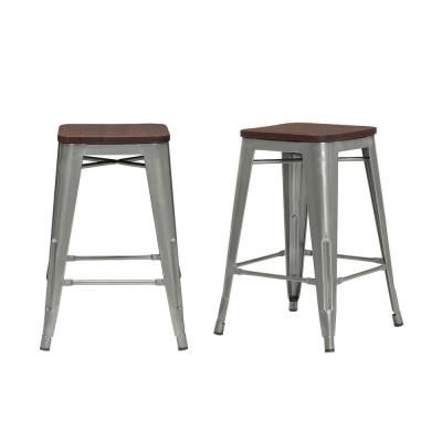 Stylewell Finwick Gunmetal Gray Metal Backless Counter Stool With