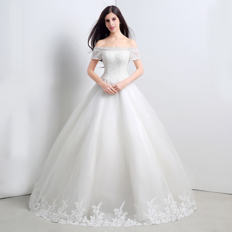 Click to buy ucuc in stock cheap crystal beading top tulle bridal ball