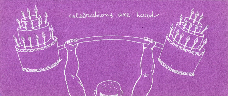 Celebrations Are Hard Birthday Card Weight Lifting Handmade Irony