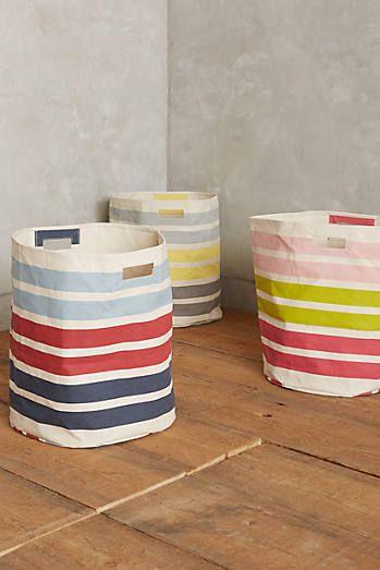 Tri-Color Stripe Canvas Hamper