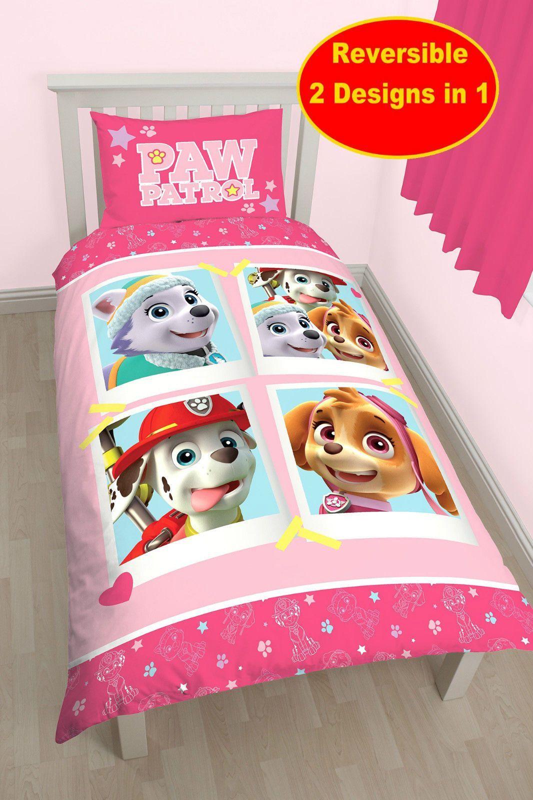 Paw Patrol Stars Single Duvet Quilt Cover Set Girls Pink Bedroom Bed Set Single Duvet Paw Patrol Bedroom Pink Bedroom For Girls