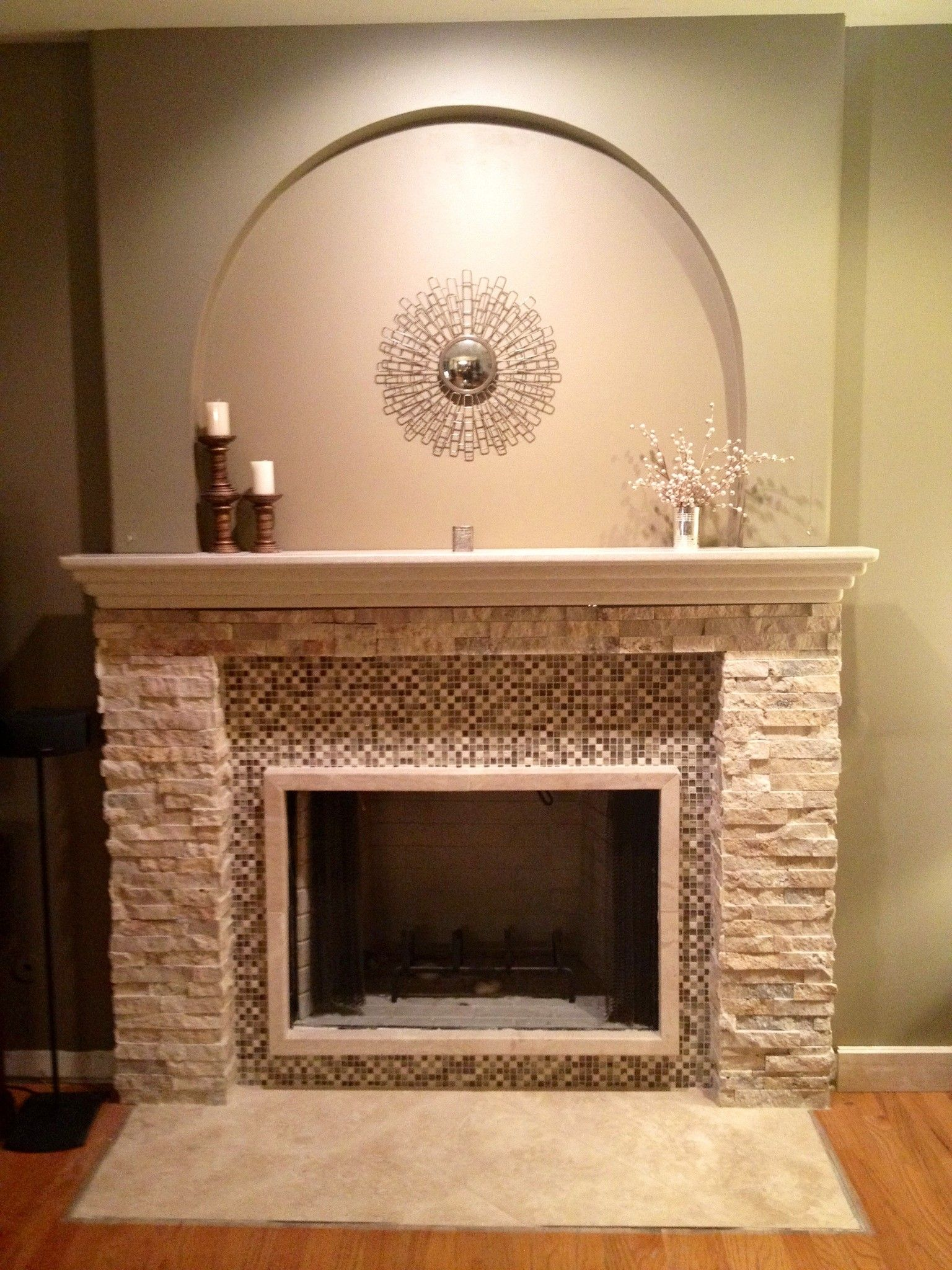 Fascinating Stacked Marble Stone Fireplace Mantel With Glass Tiles Mosaic  Surround Of Charmingly Fireplace Mantels And Surround Ideas And Furniture  Lowes ...