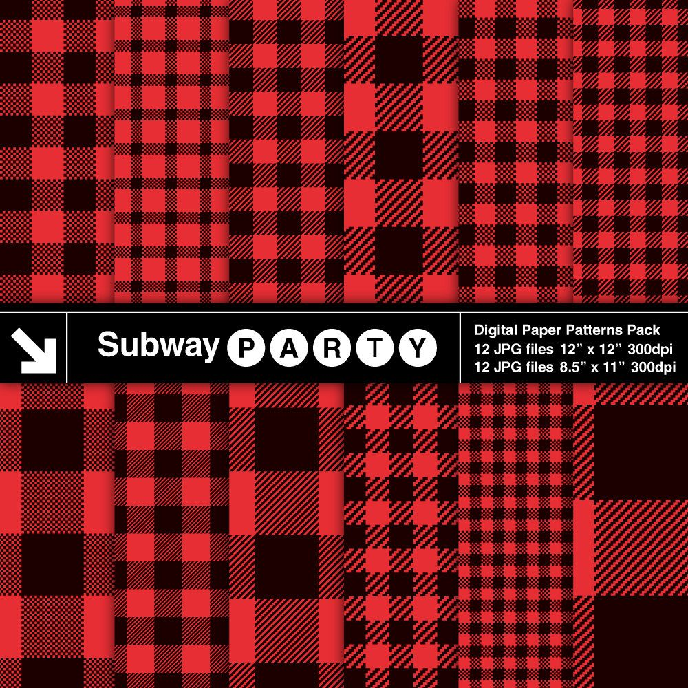 Red Black Buffalo Check Plaid Digital Papers Christmas Etsy Buffalo Check Plaid Black And Red Digital Paper