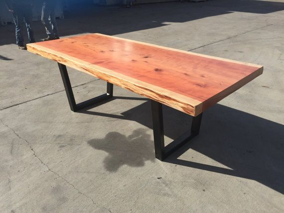 Handcrafted Redwood Slab Dining Table 100 Hand Made From Sustaibably Sourced Locally Felled Recycled Steel Legs