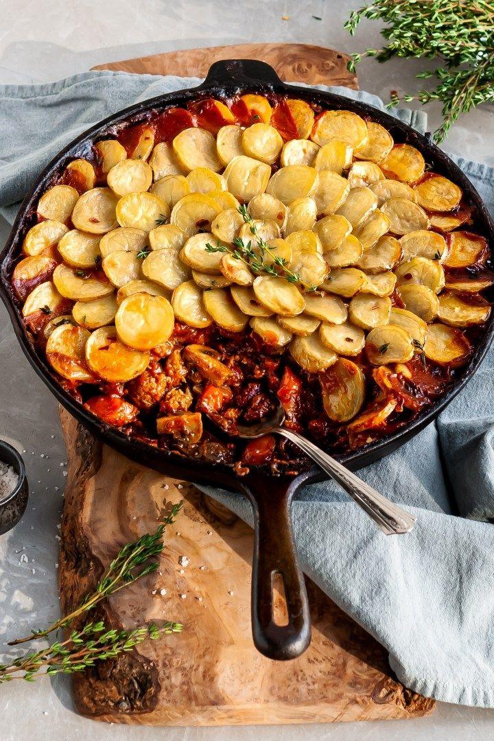 Vegan Savory Skillet Stew with Baby Potato Topping