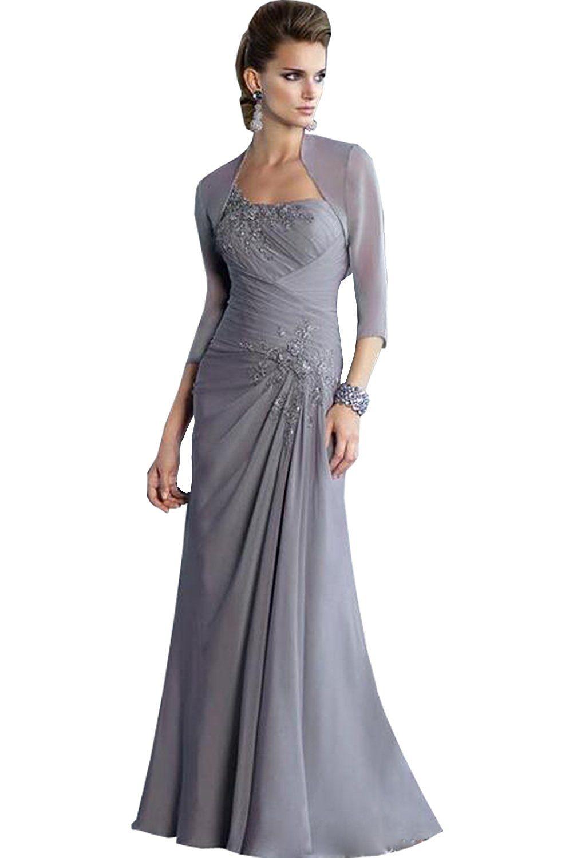 Newdeve Sheath Chiffon One-Shoulder Maxi Gray Mother Dress ...