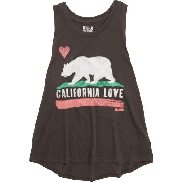 Billabong Women's Cali Love Tank ($23) ❤ liked on Polyvore featuring tops, tank tops, off black, t-shirt/prints, print tank, billabong tank, black tank top, cotton tank tops and cotton tank