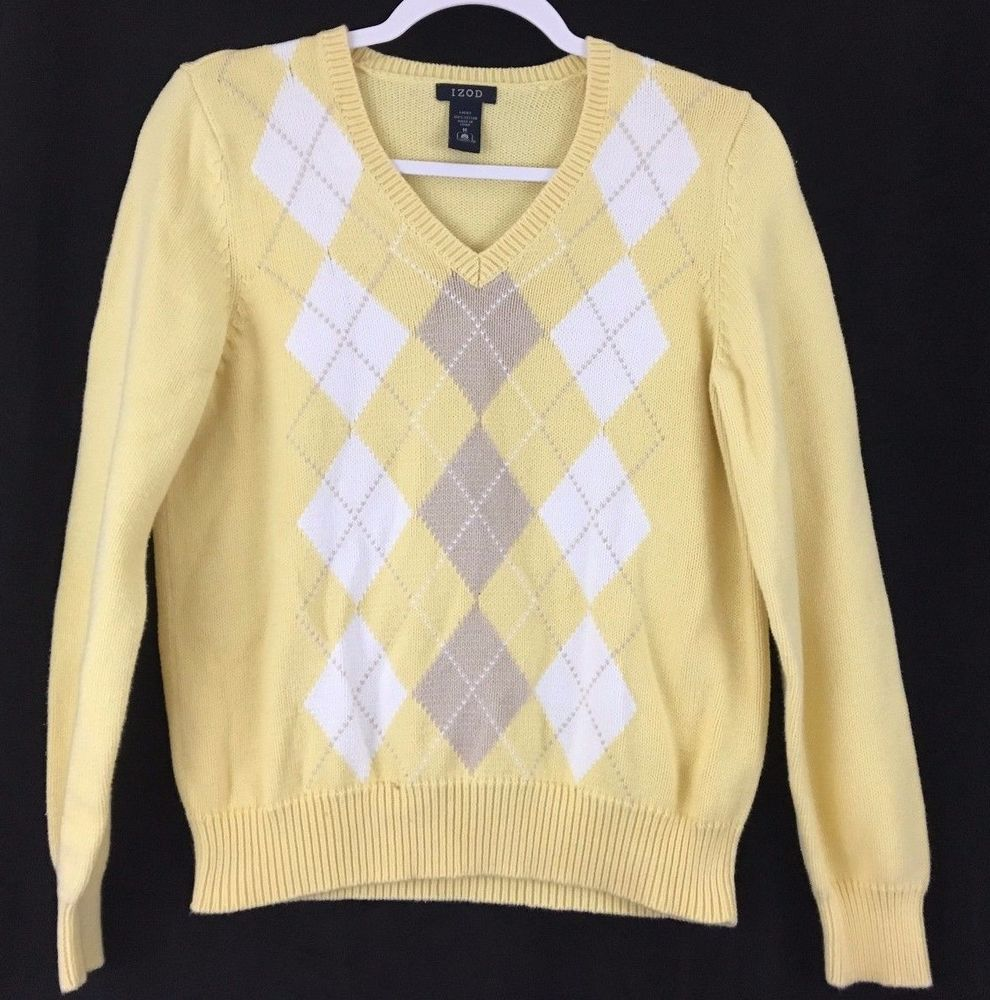 IZOD Cotton Pullover Sweater Long Sleeve V Neck Yellow White Gray ...