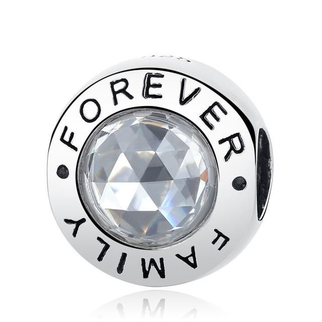 06906c0c6 Authentic 925 Sterling Silver Bead Charm Forever Family Baby Mother Love  Beads Fit Pandora Bracelets & Bangles DIY Women Jewelry